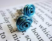 Nickel Free Post Stud Earrings. Light Blue. Wire Wrapped. Quantum Rosette. Inspired by Physics, Science. Wire Rose.