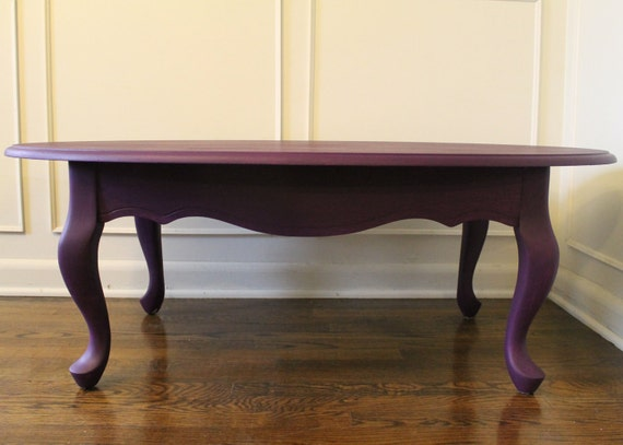 Shabby chic purple queen anne coffee table for Purple coffee table