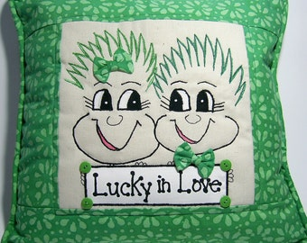 Lucky in Love Irish Pillow PinHead Happy Face(TM)