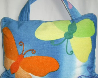 Pillow Beach Pillow Travel Pillow Blue Butterfly
