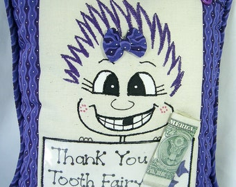 Tooth Fairy Pillow for Girl PinHead Happy Face(TM)