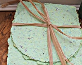 Recycled Upcycled Handmade Paper- 6 sheets. (Great for scrapbooking and Card making)