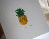 "Pineapple Folded Note Card ""Welcome"" Set"