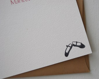 Ballet Slippers Personalized Flat Note Card Set Ballerina Dancer Party Thank You Teacher Gift  Thinking of You