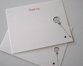 Lacrosse Stick,Thank You Flat Note, Note Card Set, Coach Gift , Player Gift, Sport Note Cards, Lacrosse Tournament Cards, Lacrosse Recruits