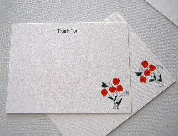 Note Card Set Red Poppies With Babies Breath Bouquet Thank You Flat Notes