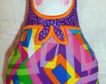 Handmade Babushka doll - Retro colors, Child friendly