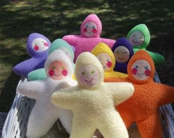 Handmade Off White, Ivory Star Baby Stuffed Plush Doll Softie