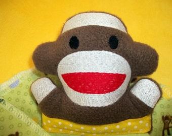 Handmade Stuffed Sock Monkey Security Snuggle Blanket Lovie