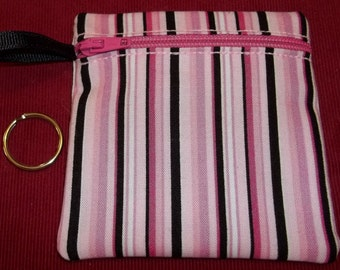 Handmade - Hot Pink and Black Stripe Zippered - Keychain Wallet Coin fabric Gift Card Holder - free shipping