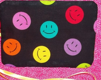 Handmade Double Crayon Wrap holds 15 Crayons - Smiley Face