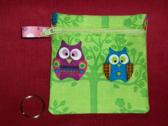 Handmade - Colorful Owls on a Limb  Pouch  - Keychain Wallet Coin Gift Card Holder