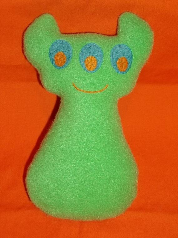 Handmade Stuffed Green Horned Monster - Fleece, Child Friendly