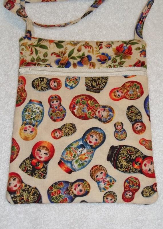 Handmade Matryoshka Babushka Sling Bag, Cross Body Bag, Hipster, Travel Bag