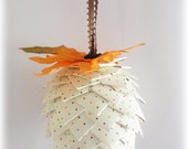 Pinecone Hanging Ornament  - Pumpkin Paper Pine Cone - White with Multi-Colored Polka Dots