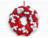 Pom Pom Sparkle Wreath Small Home Decor - Red Silver White
