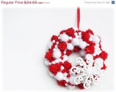 Black Friday ON SALE Christmas Wreath Pom Pom Small Home Decor - Red White Sparkle Snowflake Hostess Gift