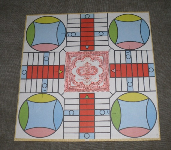 Vintage Parcheesi Royal Game of India Game Board Great Graphics Pacheesi