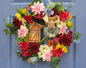 Farmer Bunny Flower Garden Front Door Wreath Spring Decoration Mother's Day Handmade New