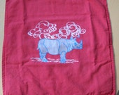 Berry red pillowcase with silver rhino