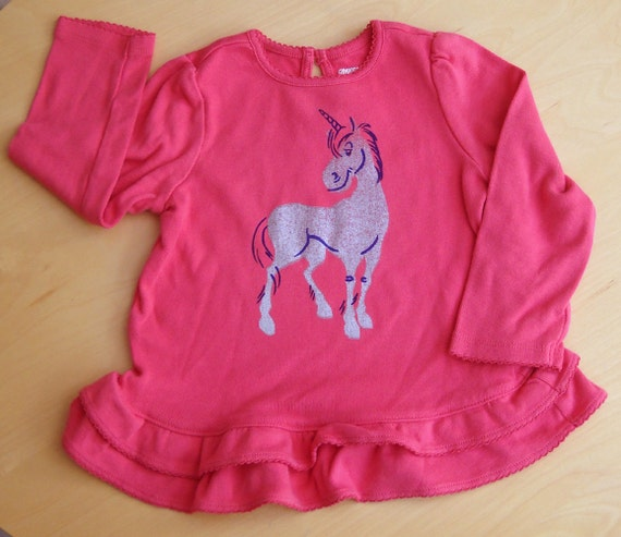 Pink girl's shirt with Silver Unicorn