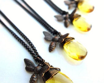 Luminous Honey Drop Bee Necklaces-Set of Five for Bridal Party or Holiday Gifts