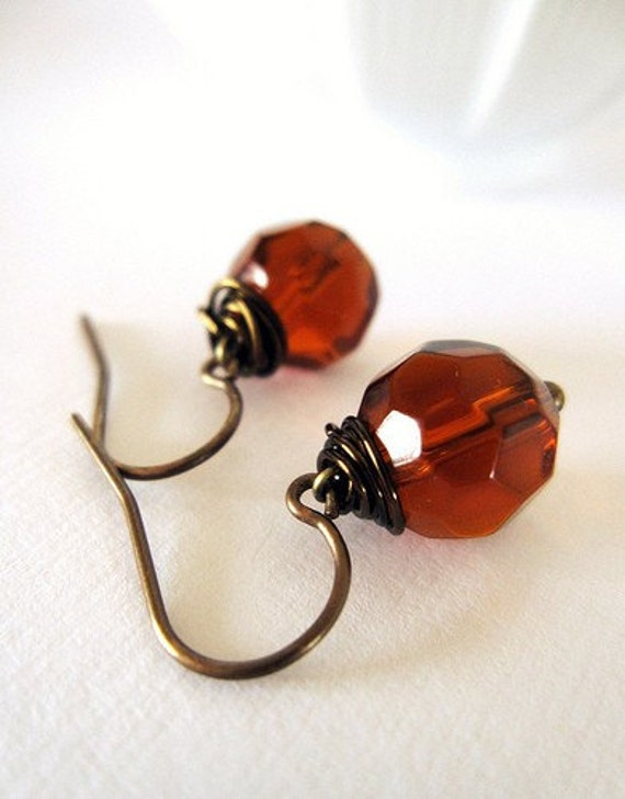 Sale- Luminous Fire Polished Earrings on Vintage Style Brass- Amber