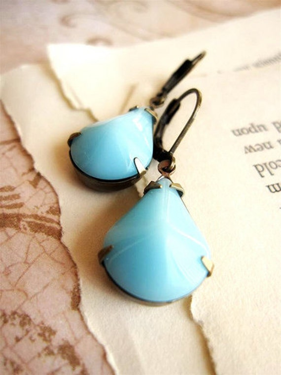 Aqua Blue Vintage Jewel Drop Earrings in Vintage Style Brass