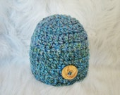 Newborn Button Beanie in Winsor Blue OR Choose Any Color, Photography Prop