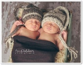 Twin Set Knit Baby Elf Hats, Set of Baby Elf Hats, Newborn Elf Hat, Baby Stocking Hat, Also Sold Separately