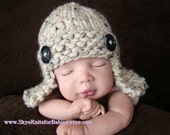 Knitted Aviator Hat in Oatmeal - More Colors Available