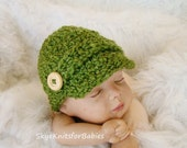 Crocheted Newsboy Cap for Baby, Choose Any Color, Beautiful Photography Prop