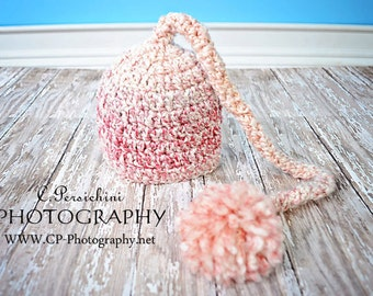 Crochet Baby Elf Hat, Baby Hat, Newborn Baby Elf Hat, Newborn Photo Prop, Choose Any Color