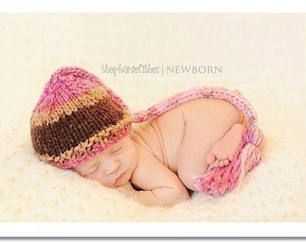 Baby Girl Hat, Newborn Photo Prop, Knit Baby Elf Hat, Knit Newborn Elf Hat, Knit Baby Girl Hat, Baby Stocking Hat, Preemie - 24 Months