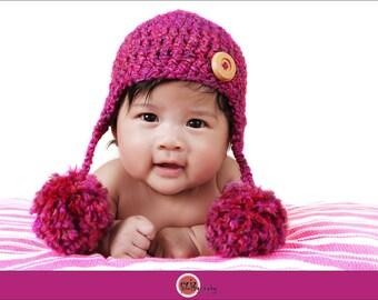 Crochet Earflap Baby Hat, Crochet Baby Hat, Newborn Ear Flap Hat, Baby Photography Prop