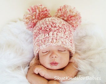 Crochet Baby Pom Pom Hat, Newborn Pom Pom Beanite, Choose Any Color, Newborn Photography Prop, Baby Photo Prop
