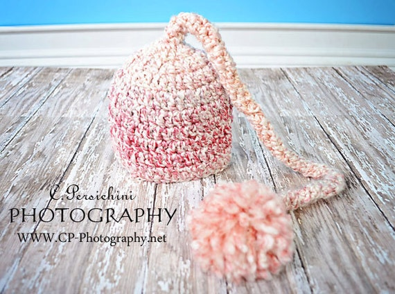 Crochet Baby Elf Hat, Baby Hat, Newborn Baby Elf Hat, Baby Stocking Hat, Newborn Long Tail Hat, Infant Elf Hat, Newborn Photo Prop