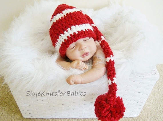 Newborn Striped Elf Hat with Pom in Red and White Beautiful Photography Prop - More Colors Choices Available