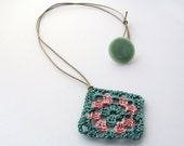Crochet Granny Square Necklace in Pink & Slate Blue - Funky Jewelry