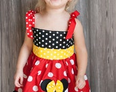 GIRLS BRIGHT RED Polka Dot Custom Minnie Mouse Dress