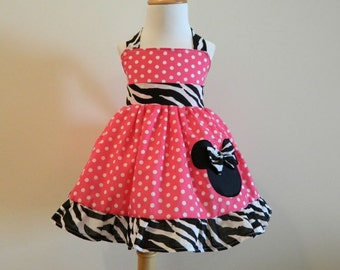 Girls Custom boutique Minnie Mouse Hot Pink Halter Dress Size from 12M to 6Y