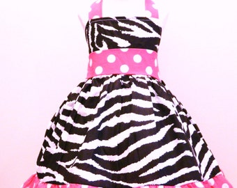 Girls Custom Boutique Minnie Mouse Halter Dress Zebra And Hot Pink Size from 12M to 6Y