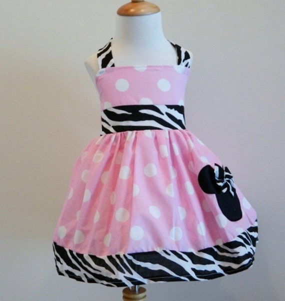 Minnie Mouse Custom Halter Dress Pink And Zebra Sizes 12M To 6Y