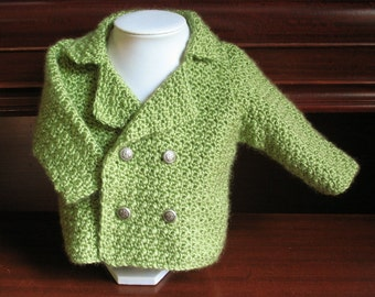 Hand Crocheted Baby Blazer in Lovely Fresh Fern Green Size 3-6 Months
