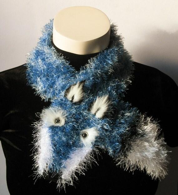Fuzzy Fox Scarf--Le Renard Bleu (Blue Fox)