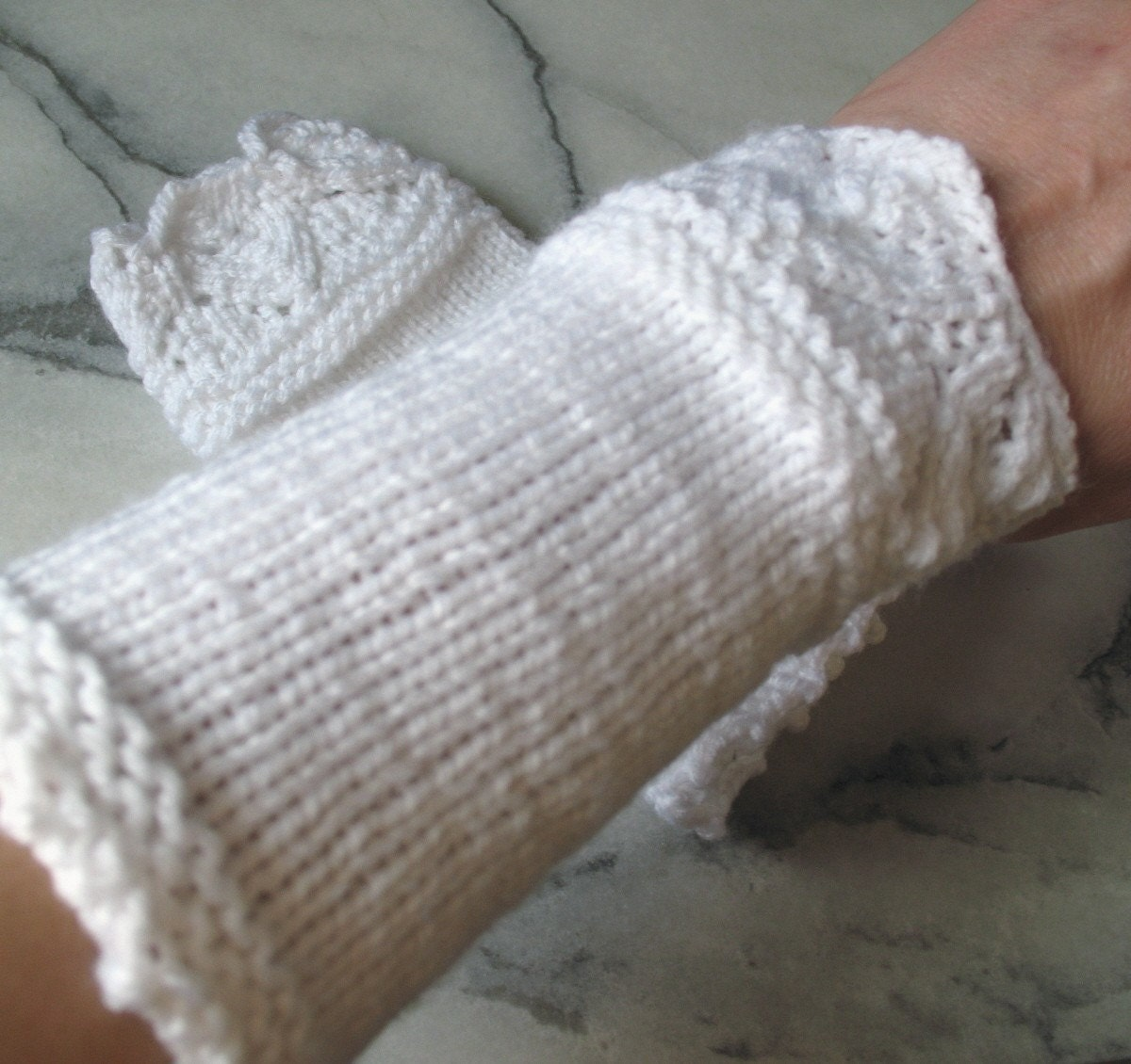 Lace Wristlets Knitting Pattern : Hand Knit White Lace Cuffs/Wristlets