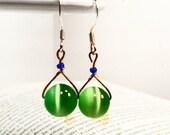 Apple Green Earrings Ladies Beaded Dangle Womens Wire Wrapped Blue Green Earrings