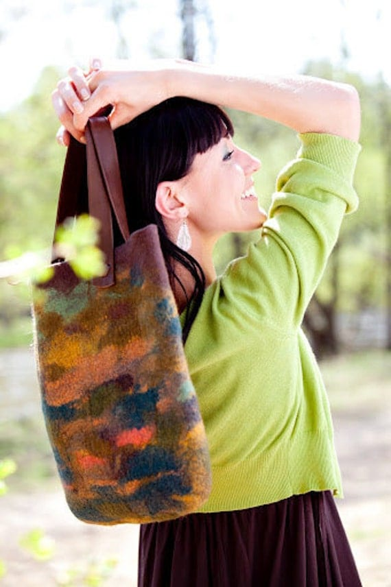 RESERVED - Felt handbag green and brown tons from merino Wool