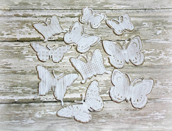 Butterfly Die Cuts-Tags-White-Distressed