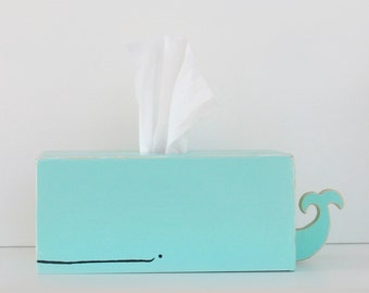 PRE-ORDER: Whale Tissue Holder - Surf Blue - Ships July 30th / tissue box kleenex cover unisex baby baby shower gift